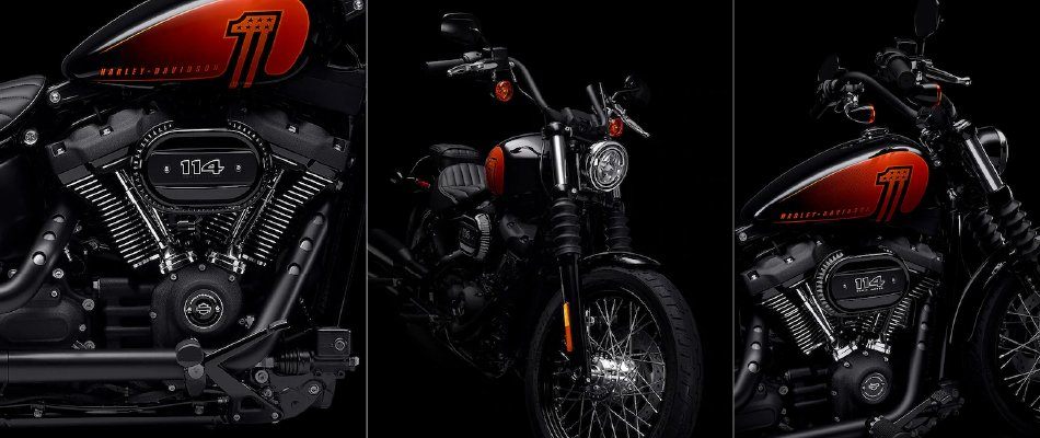 The 2021 Harley-Davidson Street Bob features the powerful Milwaukee Eight 114 engine for more power.