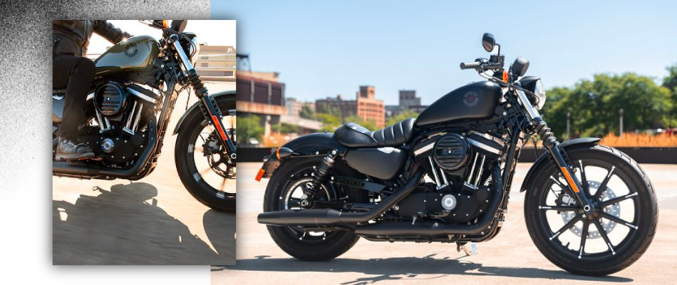 A close up of the Iron 883 shows that the bike is great for starters.