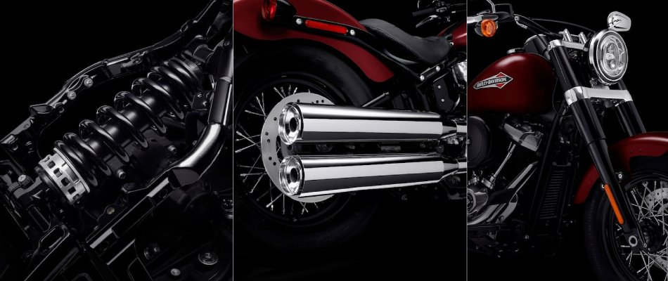 The rear suspension system in softtail Harley Davidson bikes offers a smooth ride.